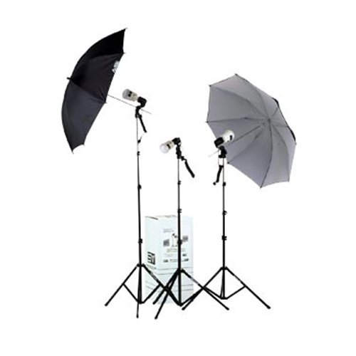 Smith Victor KF3U 3 Light, AC Slave / Master Flash, Thrifty Umbrella Flash Kit by Smith-Victor