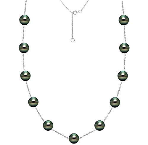 Tin Cup Tahitian Pearl (South Sea Tahitian Cultured Black Pearl Necklace Tin Cup Chain 14K White Gold 8-8.5mm 18 inch)