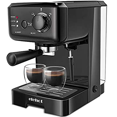 ELEHOT Espresso Machine Coffee Makers with 15 Bar Pump and Milk Frother (Black) from ELEHOT