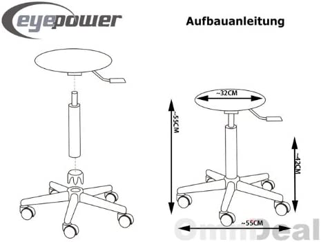 eyepower MST-402 Cosmetic Stool rotates 360° Adjustable in Height | Supported Weight 120 Kg | Swivel Chair seat Perfect for Beautician Hairdresser Atelier Clinic | Brown White