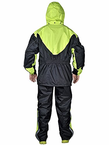 WickedStock Motorcycle Rain Gear - Two Piece Motorcycle Rain Suit Yellow Black