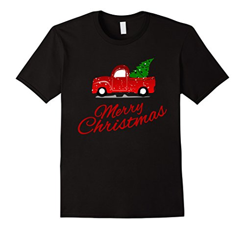 Retro Vintage Red Truck with Christmas Tree Truck Lovers Tee