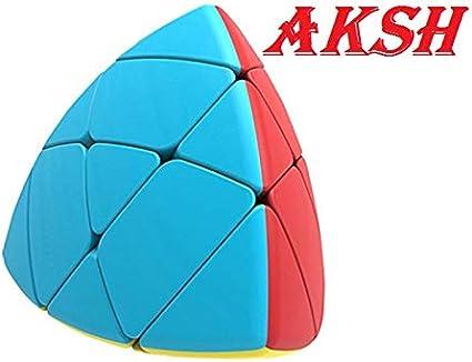 AKSH Rubiks Rubix Pyramid Cube 3x3 Speed Triangle Pyraminx Puzzle Cube, Black (Curve Cube)