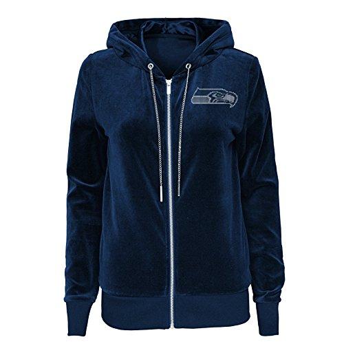 Outerstuff NFL Seattle Seahawks Juniors Glitzy Pass Velour Full Zip Hoodie, Dark Navy, Juniors Medium(7-9)