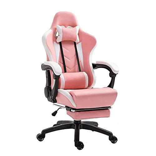 WJMLS Gaming Asientos, Silla Silla de Ordenador E-Sports Gaming Presidente descansa compitiendo Ancla Silla con Footrest- (Color : Pink)