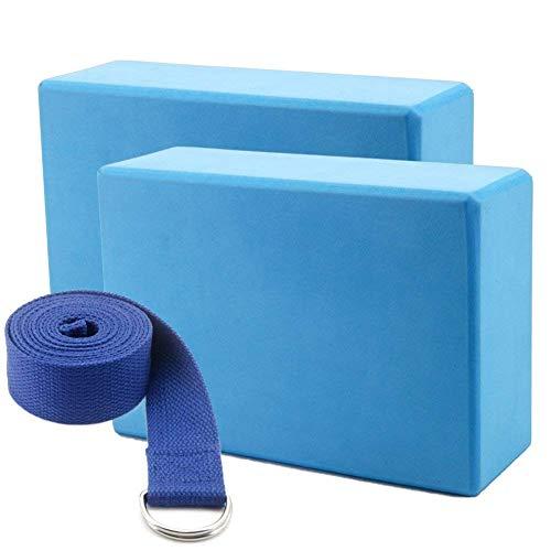 ultra2018 Yoga Blocks Foam Bricks and Strap Set 2 Packs Eco Friendly Non Toxic for Women Men Beginners High Density EVA Foam Blocks Support and Deepen Poses Improve Strength Balance Firm Lightweight