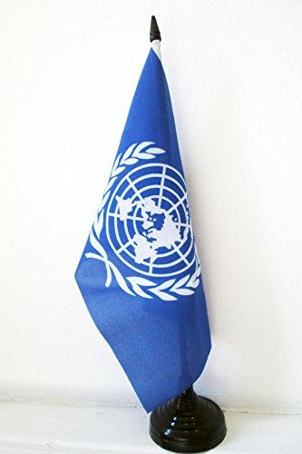 BANDIERA DA TAVOLO ONU 21x14cm - PICCOLA BANDIERINA ORGANIZZAZIONE DELLE NAZIONI UNITE 14 x 21 cm - AZ FLAG