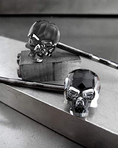 (Skull Bobby Pins with Swarovski Crystal - Black Midnight - Set of 2 - Gothic Halloween)