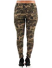 Diamante Plus Size Sweet Look Colombian Design Butt Lifter Women Denim Jeans- Levantacola-Camo- B4001