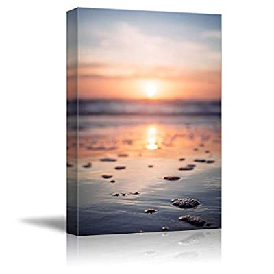 Canvas Wall Art Beautiful Sunset Mirror Water Surface Painting Artwork for Home Prints Framed - 24x36 inches