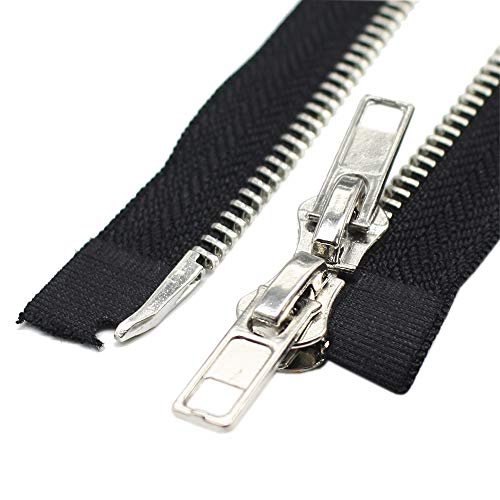 YaHoGa #5 Two Way Separating Jacket Zipper 47 Inch Silver Plated Metal Zippers for Jackets Coats Sewing Crafts Bulk (120cm)