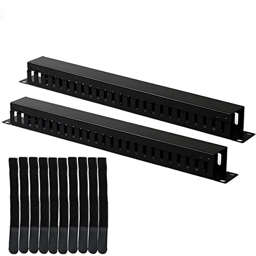 (Lancher 2-Pack 19 Inch 1U Cable Management Horizontal Cable Rack Mount Manager with mounting Screws for Service Rack Cabinet 24 Slot Finger Duct with)
