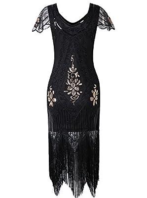 Vijiv Women's 1920s Vintage Gatsby Art Deco Sequin Beaded V Neck Long Cocktail Flapper Dress With Sleeves