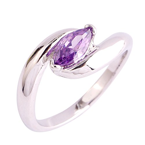 Tiara Cut Edge (Veunora 925 Sterling Silver Simple Marquise Cut Amethyst Filled Ring for Gift)