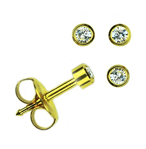 Set Of 2 Pairs Mini 24K Gold Over Surgical Stainless Steel April RD2.0mm Bezel Setting Stud Earrings