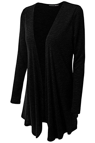 B dressy Womens Open Front Draped Knit Long Sleeve Cardigan (Plus Size Available) BlackX-Large ()