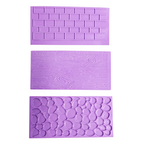 3 Pc Set of Silicone Embossed Printing Moulds by Kurtzy - Textured Wood, Brick Wall & Cobblestone Effects- for Cake Decorating, Fondant, Icing - Best Kit for Adults and Kids