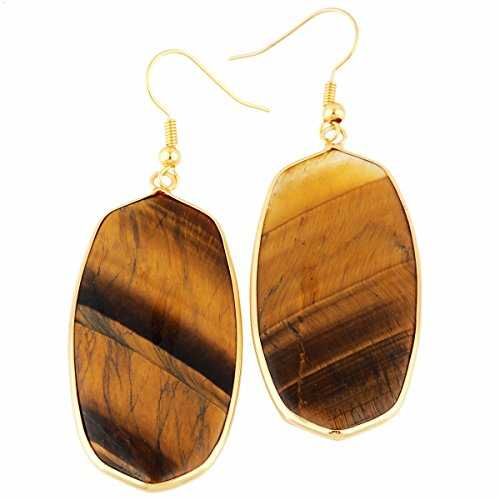 rockcloud Tiger's Eye Stone Dangle Hook Earrings Oval Gold Plated (Tigers Jasper Eye Earrings)