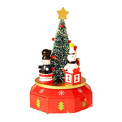 Jannyshop Christmas Decoration Innovative Wooden Music Box Table Decoration with Christmas Tree Wooden Horse Snowman ()