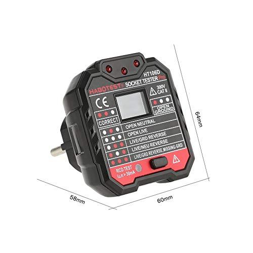 HarveyRudol85 HABOTEST HT106D Voltage Test Socket Testers Detector Ground Zero Line Plug EU