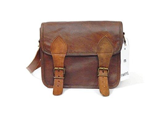 fastyl fait main à l'arnica 22,9cm Vintage pour Femme Marron Sacoche Croix Corps bandoulière Sacs à main en cuir véritable pour tablette iPad Tab
