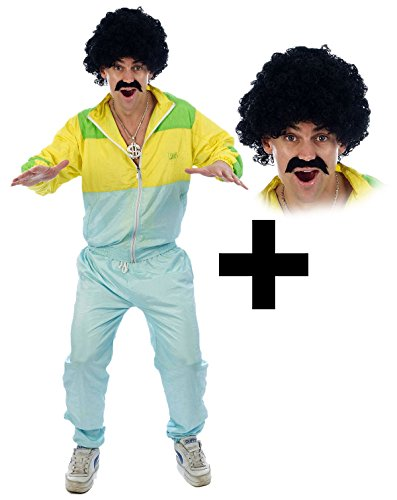 Shell Suit Scouser + Tash & Wig Mens Fancy Dress 1980s Tracksuit Costume One size by Mega Fancy Dress (Mega Fancy Dress Costumes)