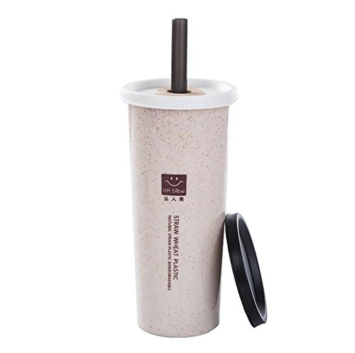 ea2ab0f1b52 Buy H218 Meter: HOMETREE 470ml Water Cup With Straw Cola Coffee Cups Wheat  Straw Plastic Healthy Drink Bottle Multi-Functional Bouble Lid H218 Online  at Low ...