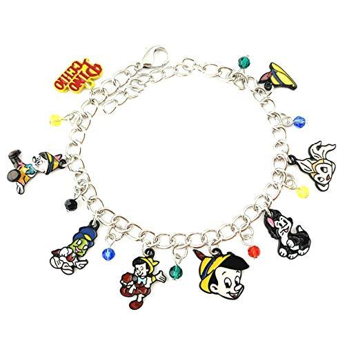 Athena Brand Pinocchio Classic Movie Cartoon TV Series Theme Comics Logo Charm Jewelry Bracelet w/Gift -