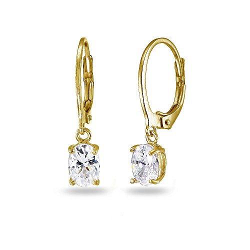 LOVVE Yellow Gold Flashed Sterling Silver Cubic Zirconia 7x5mm Oval Dangle Leverback Earrings