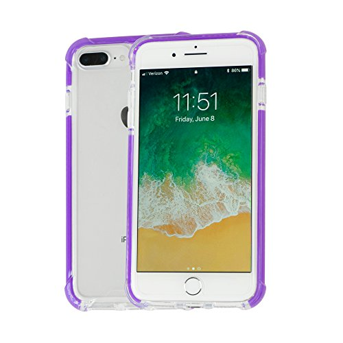 Idea Promo Ultra Clear Case Compatible for iPhone 7 Plus | 7s Plus | 8 Plus, Shock-Absorption and Anti Scratch, Slim, Reinforced Conner Rubber Bumper Shockproof Protective (Purple)