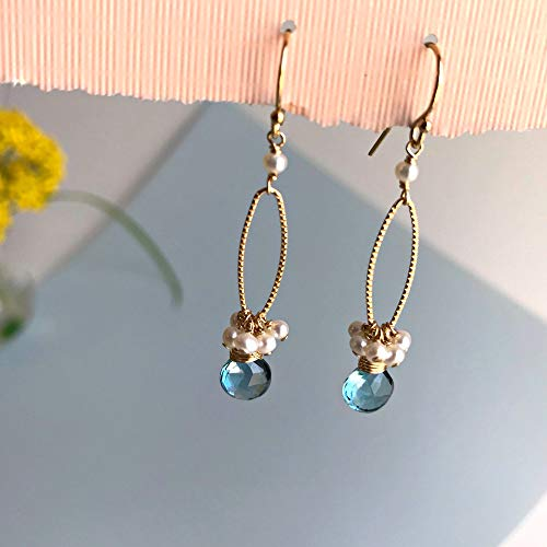 (Blue Topaz Earrings Cluster Earrings Pearl Earrings December Birthstone Delicate Earrings Drop Earrings Dainty Earrings Blue Earrings)