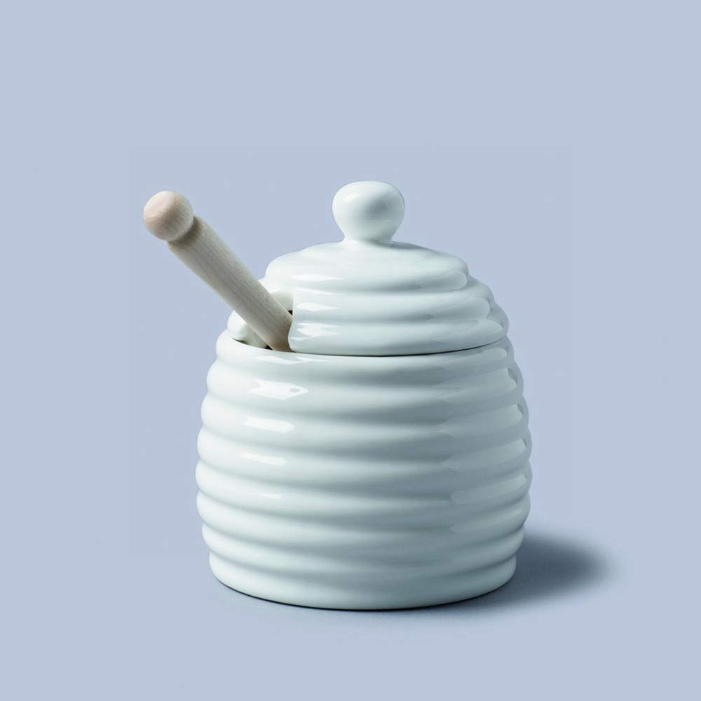 White Ceramic Honey Pot with wooden dipper (11cm) KitchenCenter t260