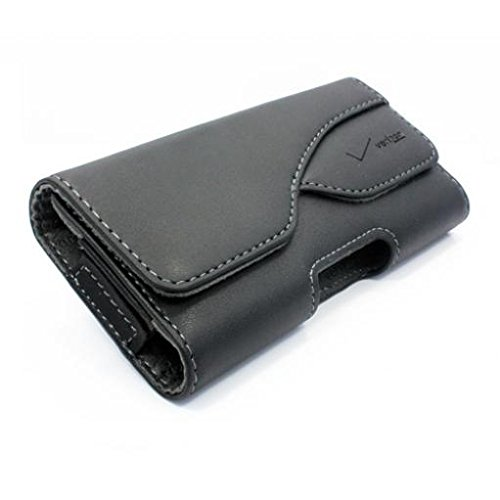 Black Verizon Leather Side Case Cover Protective Pouch Belt Holster Swivel Clip for Verizon Samsung Stealth V SCH-i510 - Virgin Mobile Alcatel Dawn - Virgin Mobile Alcatel OneTouch Elevate