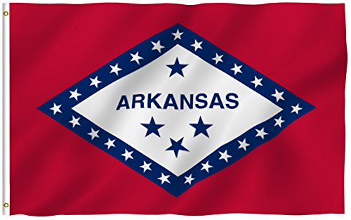 ANLEY [Fly Breeze] 3x5 Feet Arkansas State Polyester Flag - Vivid Color and UV Fade Resistant - Canvas Header and Double Stitched - Arkansas AR State Flags with Brass Grommets 3 X 5 Ft