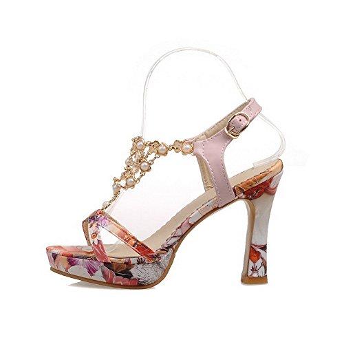 Amoonyfashion Womens Buckle High Heels Pu Assorted Color Open Teen Sandalen Roze