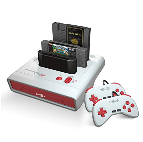Retro-Bit Super Retro Trio HD Plus 720P 3 in 1 Console System (2019) Bundle with 1-Year Warranty from Geek Theory - for NES, SNES, and Sega Genesis Original Game Cartridges ()