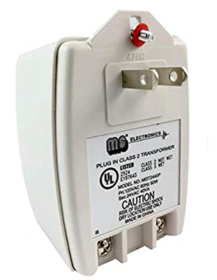 MG Electronics MGT2440P AC Power Supply Transformer, 24 VAC 40VA with PTC Auto Resettable Fuse, UL Listed