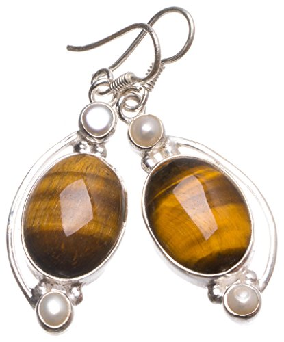 Natural Tiger Eye and River Pearl Handmade Vintage 925 Sterling Silver Earrings 2