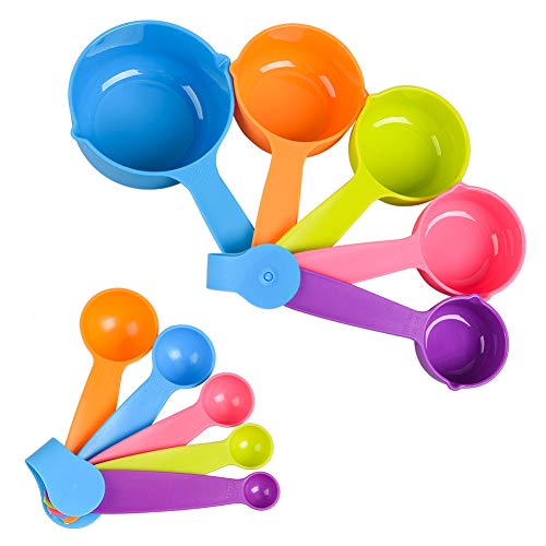 Measuring Cups and Spoons Set, Colorful Measuring Cups Spoons for Measuring Dry and Liquid Ingredients Perfect for Backing and Cooking (Set of 10)