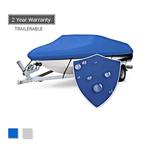 Seamander Trailerable Runabout Boat Cover Fit V-Hull Tri-Hull Fishing Ski Pro-Style Bass Boats, Full Size (Pacific Blue, 20'-22'L Beam Width up to ()