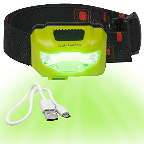 Truly Garden Green LED Headlamp USB Rechargeable - Forget Changing Batteries. 120 Lumen, Wide Angle Headlamp is Great for Growers Inspecting Flowering Plants in Hydroponic Grow Rooms. (Best Light Cycle For Flowering)