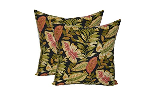 Set of 2 - Indoor / Outdoor Square Decorative Throw / Toss Pillows - Twilight Black, Green, Tan, Burgundy Tropical Palm Leaf - Choose Size - Twilight Pillow Throw