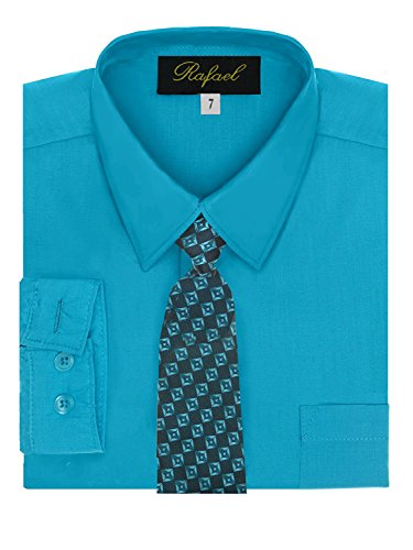 Boy's Dress Shirt & Tie - Turquoise 2T