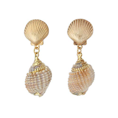 LAONATO Gold Tone Scallop and Golden Accent Seashell Drop Earrings