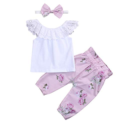 Toddler Baby Girls Lace Ruffle Shirt Top +Floral Pants Set Bowknot Headband 3PCS Easter Clothing (White & Pink Floral, 0-3 ()