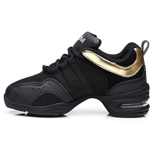 HROYL Womens Boost Dance Sneaker Jazz Sneaker Leather and Mesh Upper Enable You Enjoy Dancing Model-B55 Black+gold