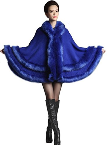 Mujer Zorro Piel Hecho De Con Imitación Manto Plaer Marino Capucha Para Azul aI0wqn