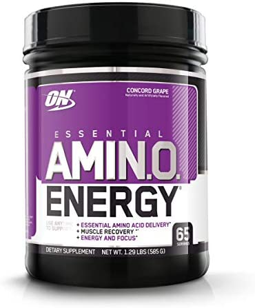 Optimum Nutrition Amino Energy – Pre Workout with Green Tea, BCAA, Amino Acids, Keto Friendly, Green Coffee Extract, Energy Powder – Concord Grape, 65 Servings