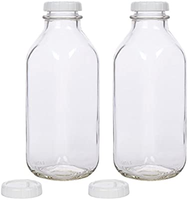 dc3a3b53991e Glass Milk Bottle with Extra Lids - Set of 2 - USA Made 33.8 Oz Jug - Thick  Durable Milk Bottle Larger than 1 Quart