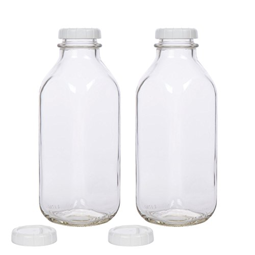 Glass Milk Bottle with Extra Lids - Set of 2 - USA Made 33.8 Oz Jug - Thick Durable Milk Bottle Larger than 1 Quart (Lid With Bottle Milk)